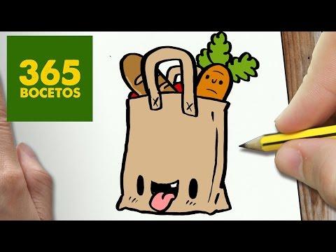 Aprende a dibujar una bolsa de la compra Kawaii