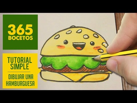 Como dibuja  hamburguesa kawaii