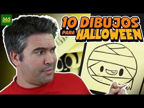 Como dibujar 10 dibujos pequeños para Halloween kawaii