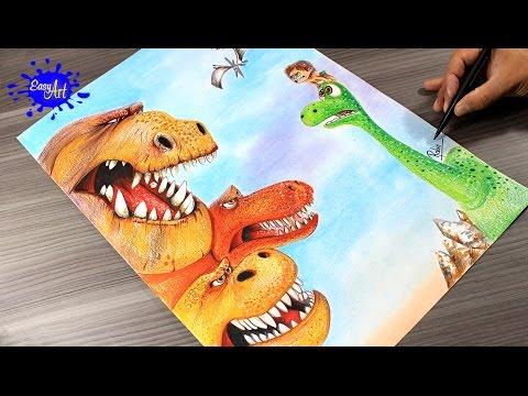 Como dibujar a Arlo el Dinosaurio fácil
