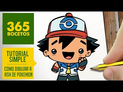 Como dibujar a Ash de Pokémon estilo Kawaii