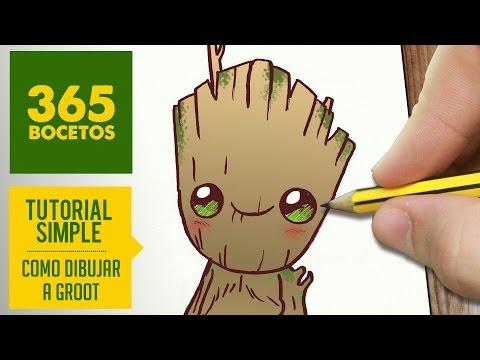 Como dibujar a baby Groot de Los Guardianes de la Galaxia Vol. 2