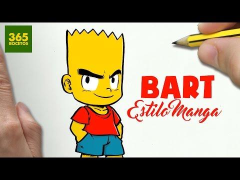 Como dibujar a Bart Simpson estilo Anime
