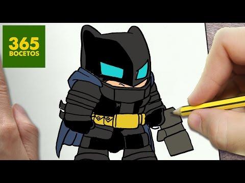 Como dibujar a Batman con armadura kawaii