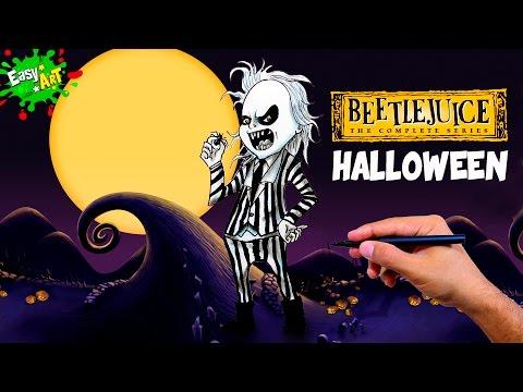 Como dibujar a Beetlejuice para Halloween