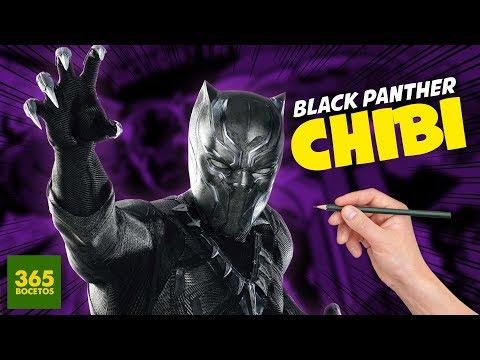 Como dibujar a Black Panther chibi