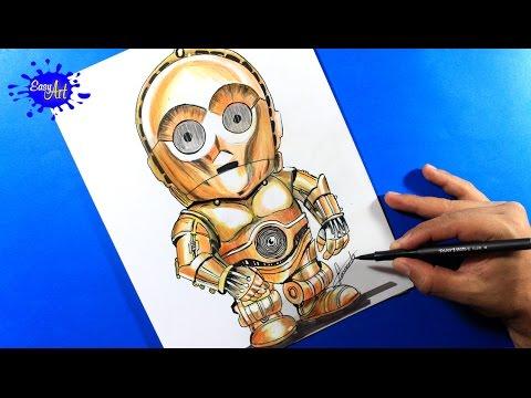 Como dibujar a C-3PO de Star Wars