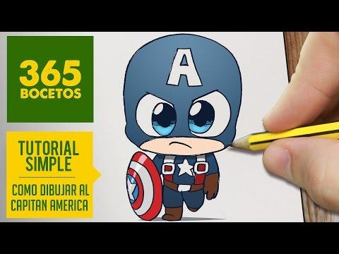 Como dibujar a Capitán América kawaii