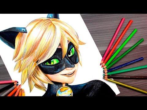 Como dibujar a Cat Noir de Ladybug a todo color