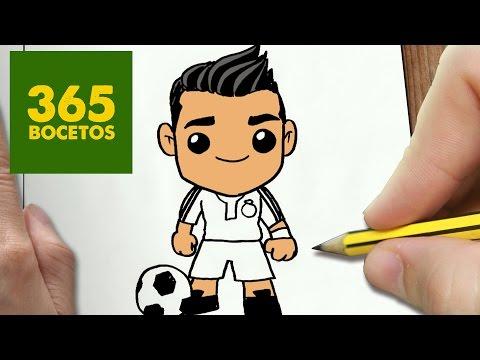 Como dibujar a Cristiano Ronaldo kawaii