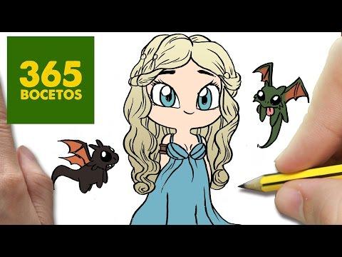 Como dibujar a Daenerys de Juego de Tronos kawaii