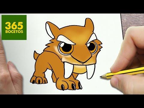 Como dibujar a Diego de Ice Age kawaii