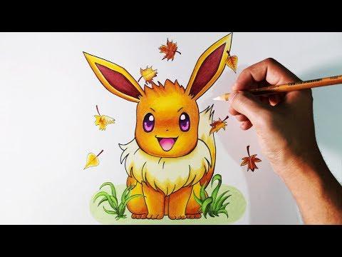 Como dibujar a Eevee de Pokémon paso a paso