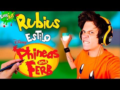 Como dibujar a ElRubiusOMG estilo Phineas y Ferb