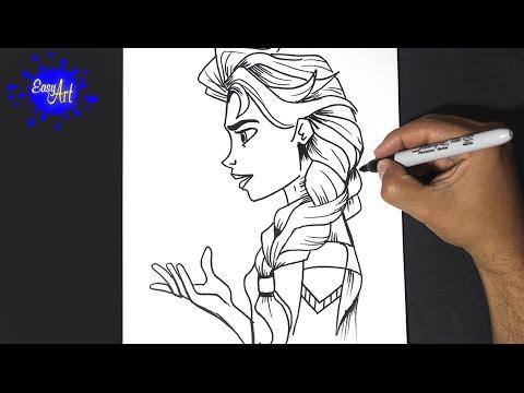 Como dibujar a Elsa de Disney
