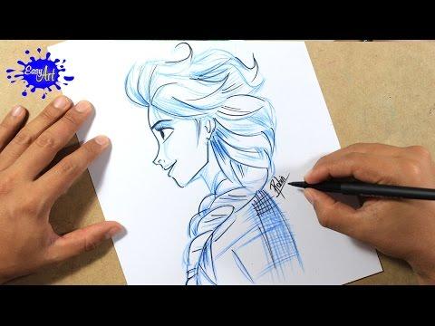 Como dibujar a Elsa de perfil