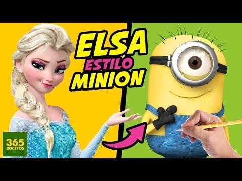 Como dibujar a Elsa estilo Minion
