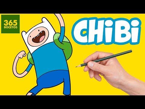 Como dibujar a Finn de Hora de Aventuras chibi