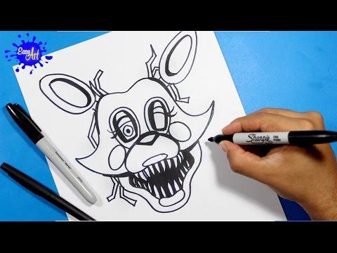 Como dibujar a Foxy de FNAF fácil