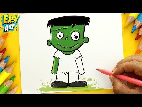 Como dibujar a Frankenstein kawaii