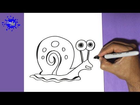 Como dibujar a Gary de Bob Esponja