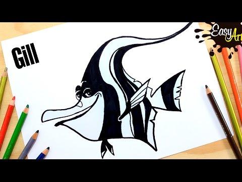 Como dibujar a Gill de Buscando a Nemo