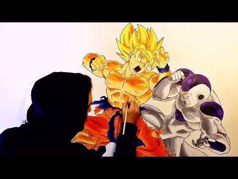 Como dibujar a Goku luchando con Freezer