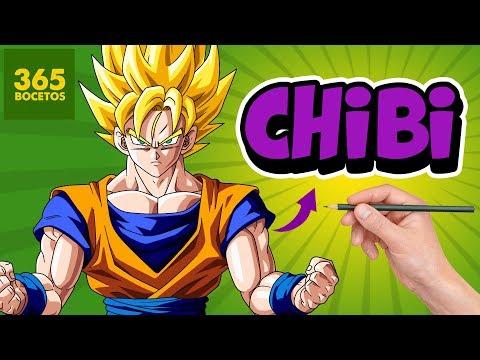 Como dibujar a Goku SSJ estilo chibi
