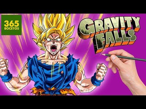 Como dibujar a Goku SSJ estilo Gravity Falls