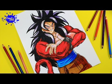 Como dibujar a Goku SSJ4 de Dragon Ball GT
