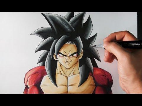 Como dibujar a Goku SSJ4
