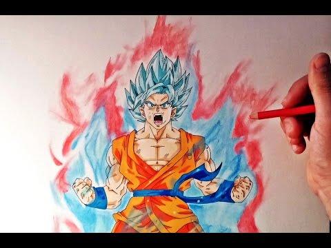 Como dibujar a Goku Super Saiyan Dios Kaioken x10
