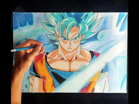 Como dibujar a Goku Super Sayian DIOS azul