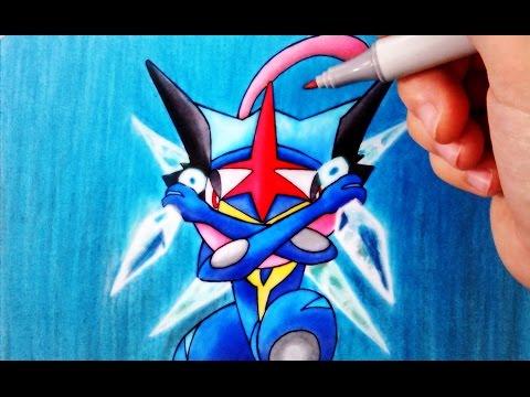 Como dibujar a Greninja Ash de Pokémon