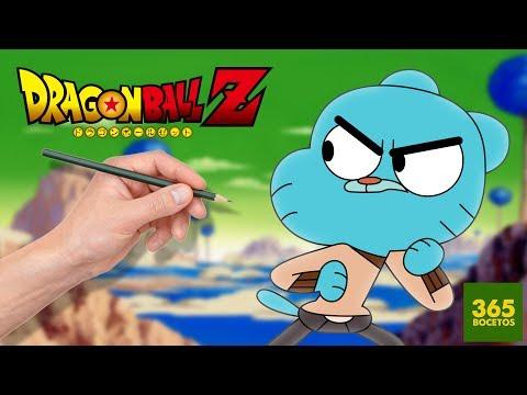 Como dibujar a Gumball al estilo Dragon Ball