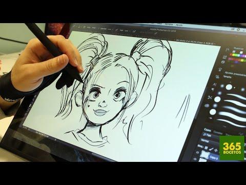 Como dibujar a Harley Quinn de El Escuadrón Suicida con tablet