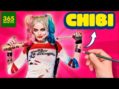 Como dibujar a Harley Quinn estilo chibi fácil