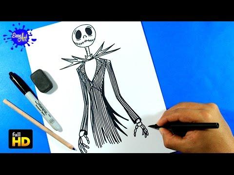 Como dibujar a Jack Skeleton de Disney