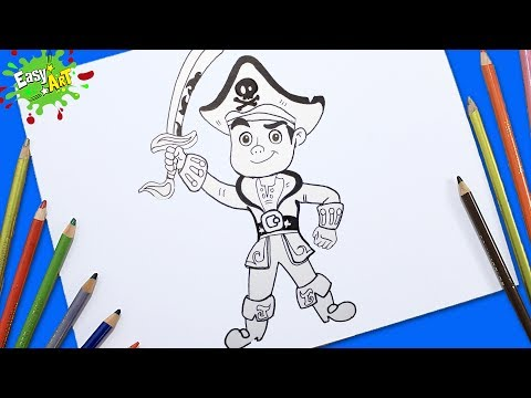 Como dibujar a Jake de los Piratas del país de Nunca Jamás
