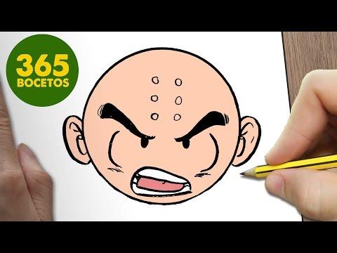 Como dibujar a Krilin de Dragon Ball