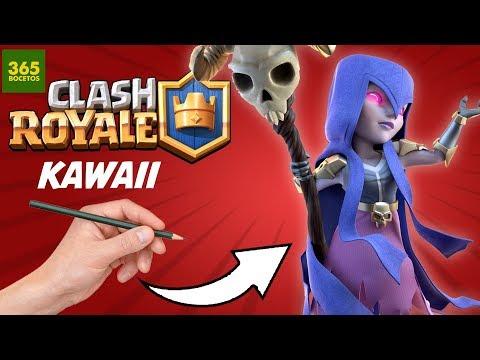 Como dibujar a la Bruja de Clash Royale kawaii