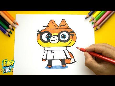 Como dibujar a la Doctora Fox Unikitty de LEGO Toys