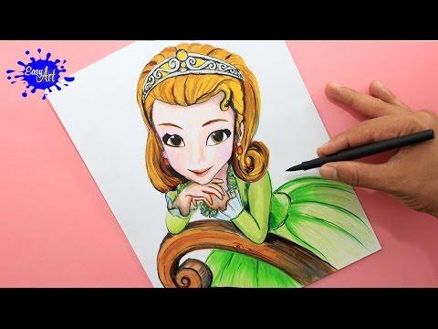 Como dibujar a la Princesa Amber de Disney Junior