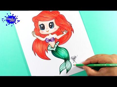 Como dibujar a la princesa Ariel de Disney