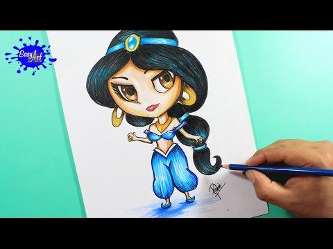 Como dibujar a la princesa Jasmín de Aladdin