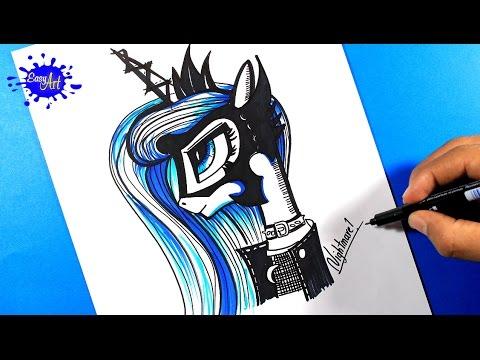 Como dibujar a la Princesa Luna de My Little Pony