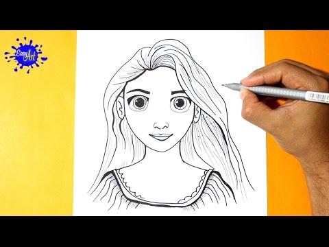 Como dibujar a la princesa Rapunzel de Disney