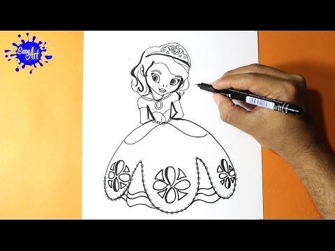 Como dibujar a la Princesa Sofía de Disney Channel