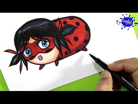 Como dibujar a Ladybug estilo Tsum Tsum