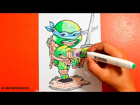Como dibujar a Leonardo de las Tortugas Ninja